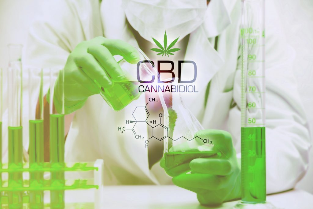 CBD VS THC CBD Consumption Forms lab tech hands wearing gloves pouring oil from one glassware to another for measurement
