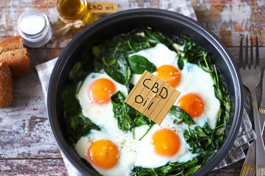 CBD Consumption Forms Selective focus. CBD food. CBD oil. Cooking concept with CBD oil.